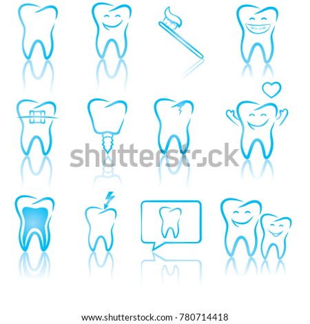Set Of Dentistry Symbols Dental Tools Braces Teeth Implant Toothache