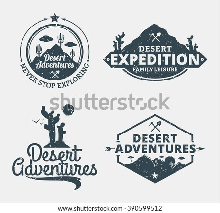 Set of desert adventures logo. Desert wild nature icons for tourism organizations, outdoor events and camping leisure. - stock vector