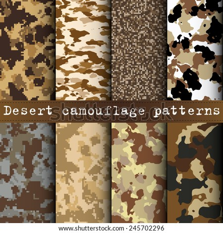 Set of 8 desert camouflage patterns vector - stock vector