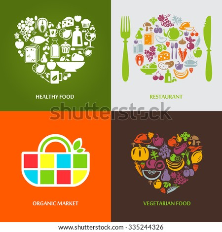 Set of design concept icons for food, organic market and restaurant. Fruits and vegetables icons, restaurant, healthy and vegetarian food.