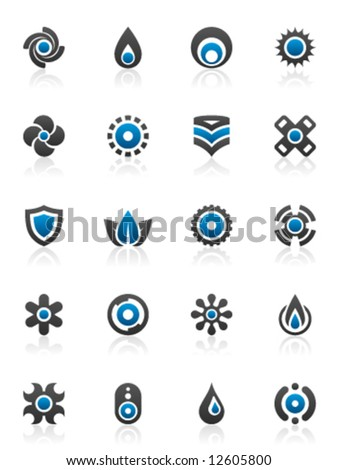 Set of 20 design elements and various graphics - stock vector