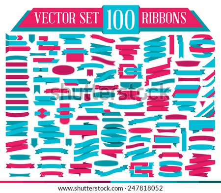Set of design elements banners ribbons. Vector illustration. Flat design of Web Stickers - stock vector