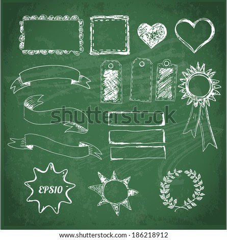 Set of design elements: borders, banners, stars etc. Isolated on blackboard. Vector illustration.  - stock vector
