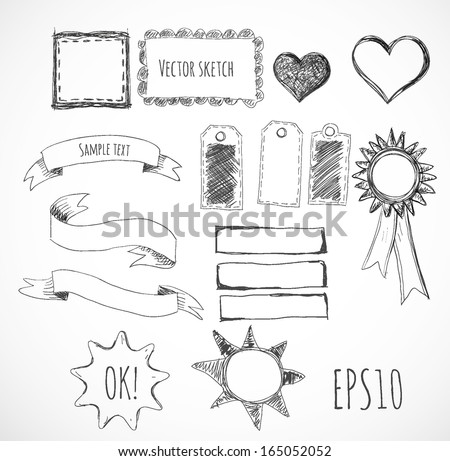 Set of design elements: borders, banners, stars etc. Isolated on white. Vector illustration.  - stock vector
