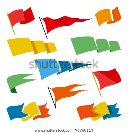 Set of design elements. Flags. - stock vector