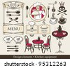 set of design elements for a cafe or restaurant - stock vector