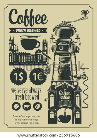 set of design elements for a cafe shop in retro style - stock vector