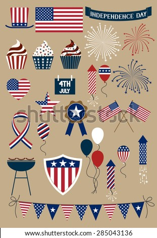 Set of design elements for american independence day, forth of july - stock vector