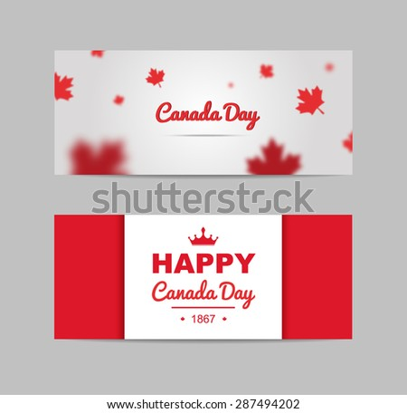 Set of design elements for Canada Day 1st of July. Vector modern stylish illustration. Vector banner for the Internet to the Canada Day with red leaves. - stock vector