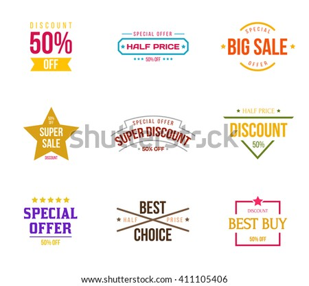 Set of design elements for products or services. Labels in retro and vintage style. Vector Illustration. Graphics elements for commerce, product promotion, advertising, sell products, discounts, sale. - stock vector