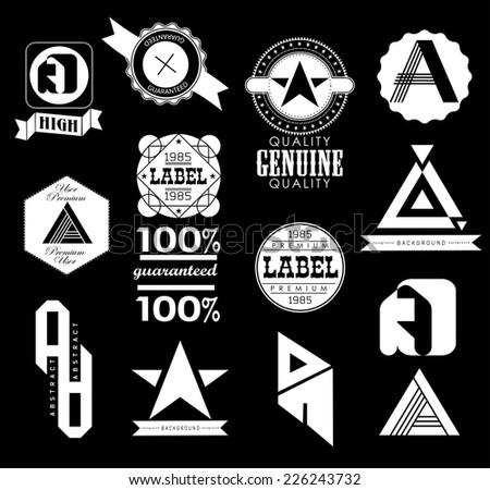 set of design elements for retro label and ribbons - stock vector