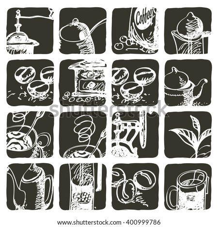set of design elements for tea and coffee - stock vector