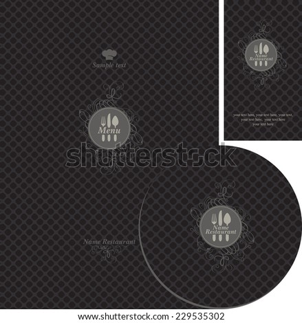 set of design elements for the cafe or restaurant on a black background - stock vector