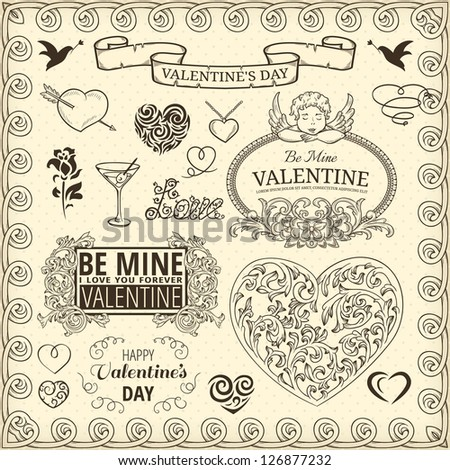 Set of design elements for Valentines Day - stock vector