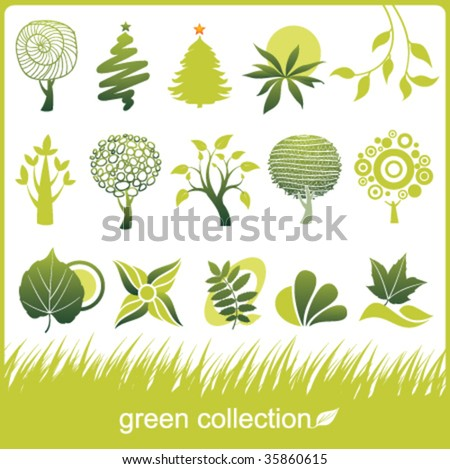 Set of design elements. Green collection. Tree and leaf. - stock vector