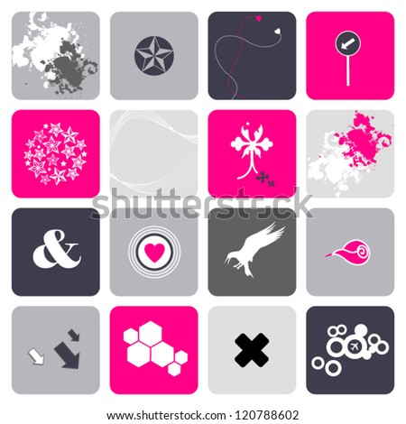 Set of design elements, icons for use together or separately - stock vector