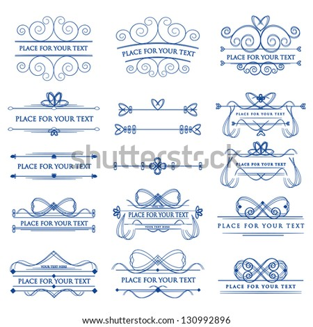 Set Of Design Elements Isolated White On Background - Vector Illustration, Graphic Design Editable For Your Design. Calligraphic Borders And Page Decoration - stock vector