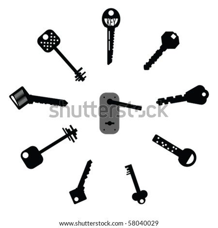 Set of design elements - Keys Silhouettes - stock vector