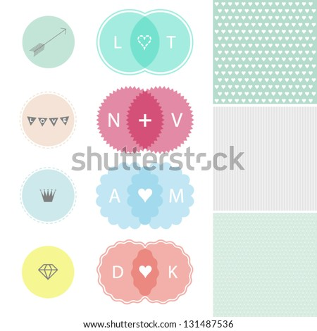 Set of design elements of love - stock vector
