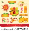 set of design elements on juices, fruit - stock vector