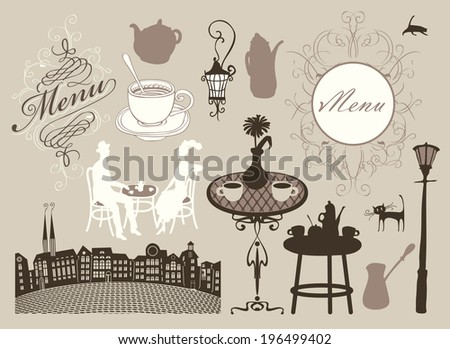 set of design elements on the subject of cafes and restaurants in retro style - stock vector