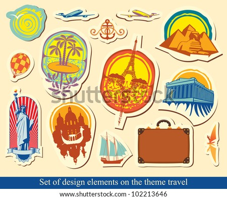 set of design elements on tourist industry - stock vector