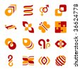 Set of design elements, two colors - stock vector