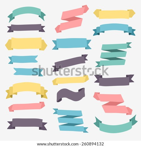 Set of design elements vintage banners ribbons. Vector illustration. - stock vector