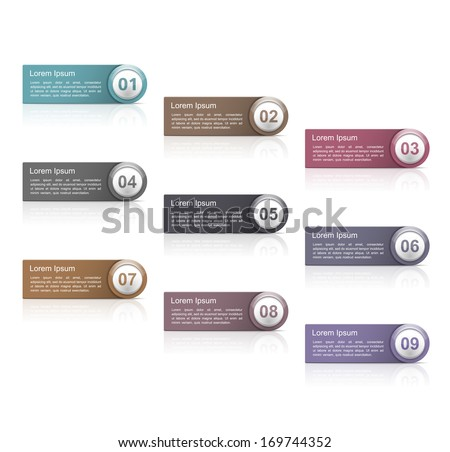 Set of design elements with numbers, vector eps10 illustration - stock vector