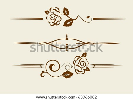 set of design elements with roses  vectorized - stock vector