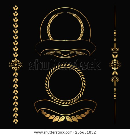 Set of design gold elements and ornamental vintage  decoration. Vector illustration - stock vector