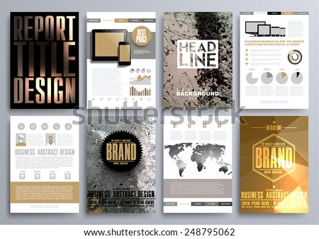 Set of Design Templates for Brochures, Flyers, Mobile Technologies, Applications, and Online Services, Typographic Emblems, Logo, Banners and Infographic. Abstract Modern Backgrounds.  - stock vector