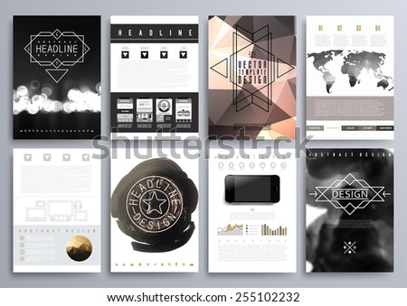 Set of Design Templates for Brochures, Flyers, Mobile Technologies, Applications, and Online Services, Typographic Emblems, Logo, Banners and Infographic. Abstract Modern Backgrounds.