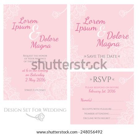 Set of design templates for wedding vector - stock vector