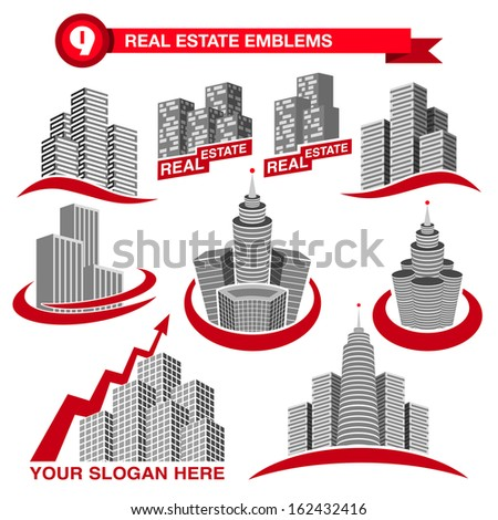 Set of designed real estate emblems - stock vector