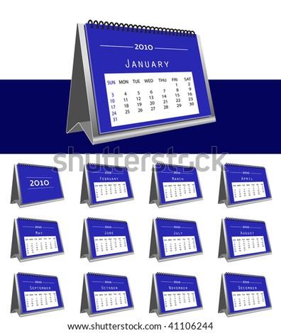 set of 2010 desk calendar - stock vector