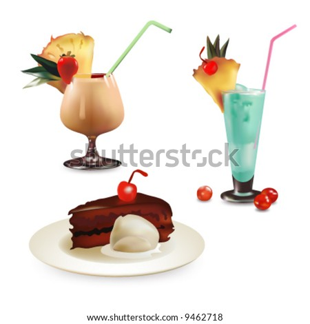 Set of desserts, vector illustration