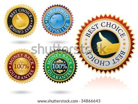 set of 5 detailed best label - stock vector