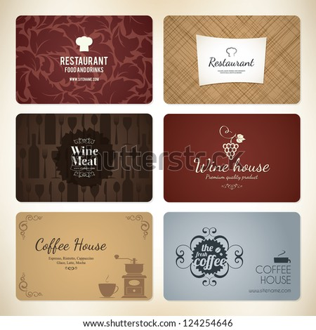 Set of 6 detailed business cards. For cafe and restaurant - stock vector