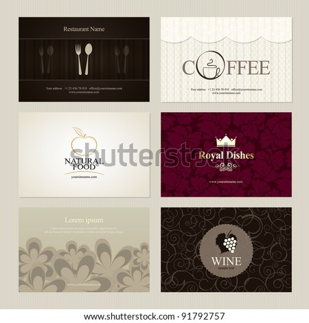 Set 6 detailed business cards cafe stock vector 91792757 shutterstock set of 6 detailed business cards for cafe and restaurant reheart Choice Image
