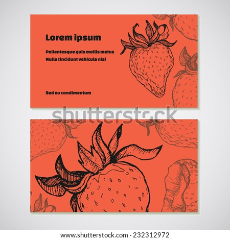 Set of 2 detailed business cards with strawberry sketch. For cafe and restaurant - stock vector