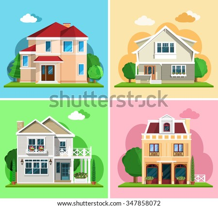 Set of detailed colorful cottage houses. Flat style modern buildings. Vector illustration - stock vector