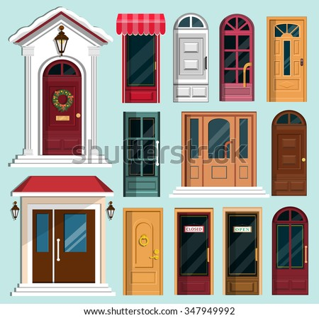 Set of detailed colorful front doors to private houses and buildings. Door with Christmas wreath & Set Detailed Colorful Front Doors Private Stock Vector (2018 ...