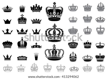 Set of 40 detailed crowns isolated on white background  - stock vector