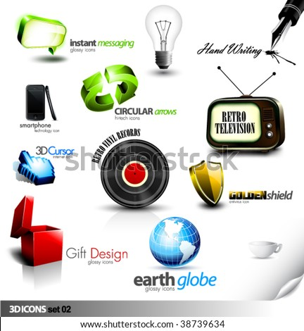 Set of detailed 3D vector Icons - Retro television, Vinyl Record, Gift, Chat, Cursor and other elements - stock vector