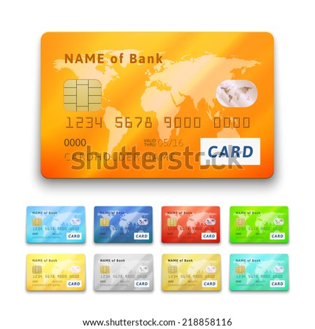 Set of detailed glossy credit cards, blue cyan red orange green yellow gold gray silver color, vector realistic icons isolated on white background - stock vector