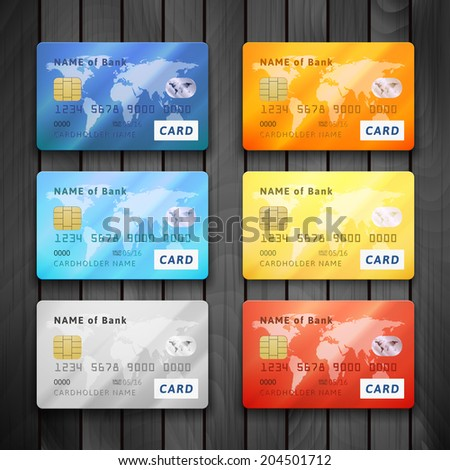 Set of detailed glossy credit cards, blue orange cyan yellow orange gold red color, vector realistic icons isolated on gray wood texture - stock vector