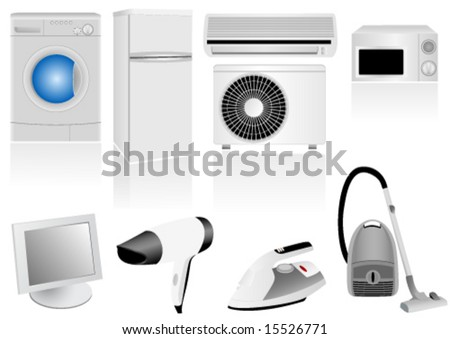 Set of detailed household electronic elements - stock vector