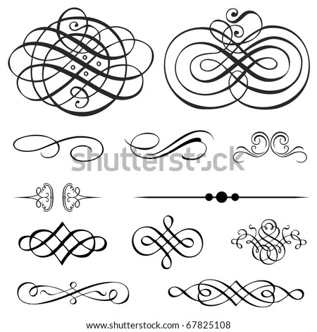 Set of detailed ornaments. Perfect for certificates and invitations. - stock vector