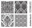 Set of detailed repeating damask patterns. Easy to change colors. - stock vector